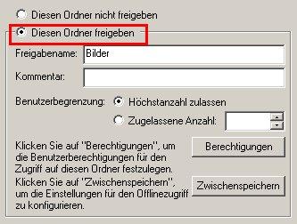 Netzwerk-Tutorial: Einen Windows Ordner freigeben und Ordnerzugriff erlauben! Konfigurationsfenster Konfigurationsdialog Ordnerfreigabe Option Diesen Ordner freigeben