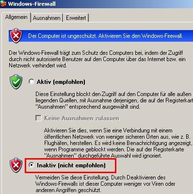 Windows Tutorial: Die Windows Firewall aktivieren oder deaktivieren! Windows Firewall - Auswahl Button Inaktiv