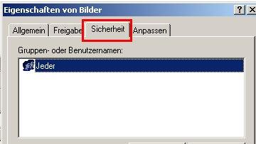 Netzwerk-Tutorial: Einen Windows Ordner freigeben und Ordnerzugriff erlauben! Konfigurationsfenster Konfigurationsdialog Ordnerfreigabe Fenster Berechtigungen