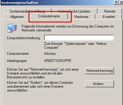 Netzwerk Tutorials: Windows 7 Heimnetzgruppe beitreten - Systemeigenschaften Register Computername