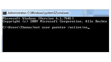 Windows 7 Benutzerkonten schnell aktivieren und deaktivieren - Benutzerkonto mit net user Befehl deaktivieren