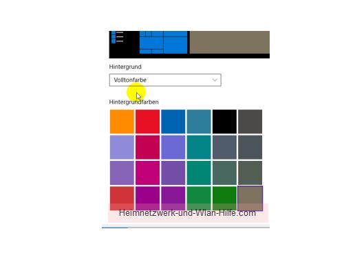 Die Farbeinstellungen des Windows 10 Startmenüs und Desktops anpassen – Vordefinierte Hintergrundfarben