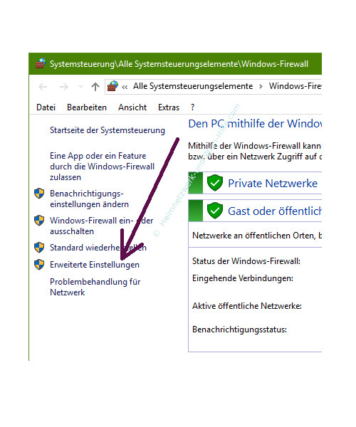 Ping-Anfragen in der Windows Firewall zulassen – Die erweiterten Einstellungen der Firewall aufrufen