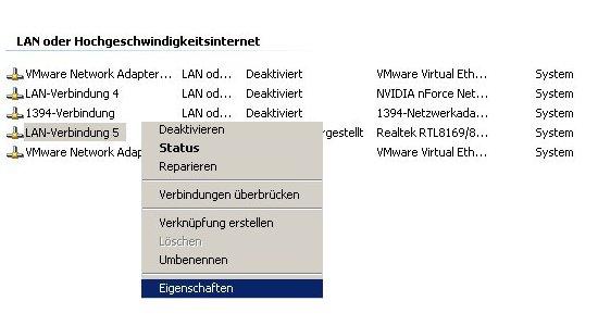 Netzwerk Tutorial: Die Eigenschaften einer Windows Netzwerkverbindung anzeigen lassen! Kontextmenü Netzwerkverbindung Eigenschaften