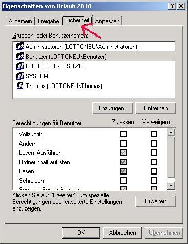 Windows Netzwerk Anleitung: Berechtigungen für Zugriffe auf Dateien und Ordner deiner Computer vergeben! Register Sicherheit