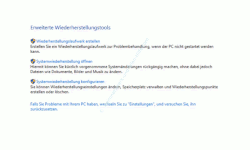 Windows 10 Tutorial - Systemwiederherstellungspunkte löschen – Anzeige Erweiterte Wiederherstellungstools