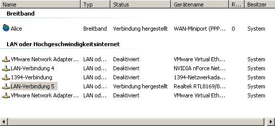 Netzwerk-Tutorial: Netzwerkverbindung anzeigen, umbenennen, aktivieren oder deaktivieren - Netzwerkkarten aufgelistet