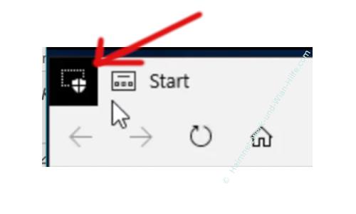 Windows 10 Tutorial - Den Edge-Browser in einer sicheren virtuellen Schutzumgebung nutzen, die vor Malware und Viren schützt! - Application Guard Symbol, das auf das Surfen in der virtuellen Umgebung von Edge hinweist