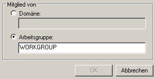 Arbeitsgruppenname ändern -  Option Arbeitsgruppe in der Rubrik Mitglied von: