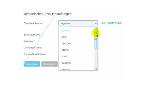 TP-Link Archer VR900v – Auswahlliste von DynDNS Diensteanbietern verwenden