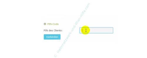TP-Link Archer VR900v – Konfigurationsmenü - Den WPS-PIN-Code eingeben