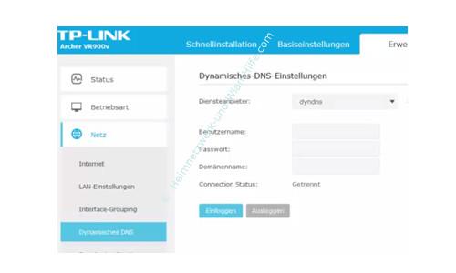 TP-Link Archer VR900v – Die DynDNS-Einstellungen konfigurieren
