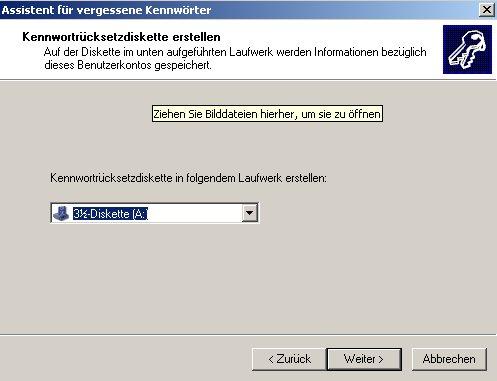 Netzwerk-Anleitung: Windows-Passwort auf Passwortrücksetzungsdiskette sichern! Sicherungsmedium auswählen - Diskette, USB-Stick Assistent Erstellung der Passwortrücksetzungsdiskette