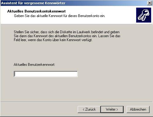 Netzwerk-Anleitung: Windows-Passwort auf Passwortrücksetzungsdiskette sichern! Aktuelles Passwort eingeben Assistent Erstellung der Passwortrücksetzungsdiskette