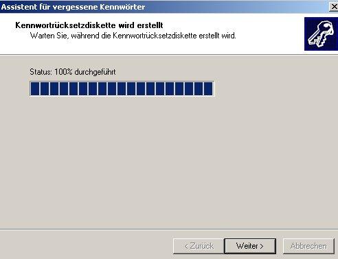 Netzwerk-Anleitung: Windows-Passwort auf Passwortrücksetzungsdiskette sichern! Fortschrittsbalken-Anzeige Erstellung der Passwortrücksetzungsdiskette