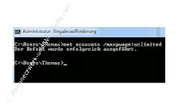 Netzwerk Anleitung: Kennwortänderung mit net accounts - Eingabeaufforderung - net accounts - Passwortänderung wieder aufheben