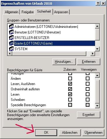 Windows Netzwerk Tutorial: Windows Zugriffsrechte für Ordner und Dateien einrichten! Änderungen OK