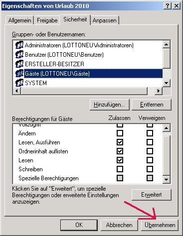 Windows Netzwerk Anleitung: Berechtigungen für Zugriffe auf Dateien und Ordner deiner Computer vergeben! Änderungen übernehmen