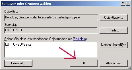 Windows Netzwerk Anleitung: Berechtigungen für Zugriffe auf Dateien und Ordner deiner Computer vergeben! Benutzer Benutzergruppe OK betätigen