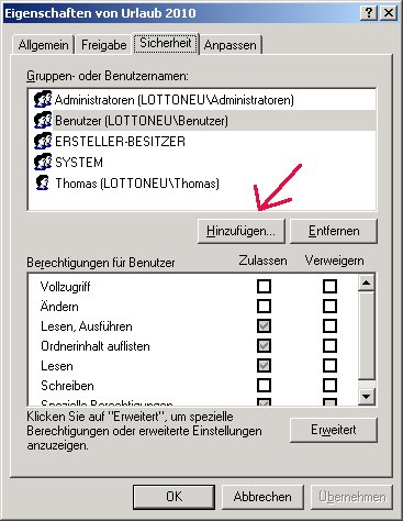 Windows Netzwerk Anleitung: Berechtigungen für Zugriffe auf Dateien und Ordner deiner Computer vergeben! Benutzer Benutzergruppe hinzufügen