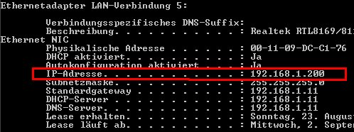 Netzwerkanleitung IP-Adresse anzeigen - ipconfig per Kommandozeile erläutert - Cmd - ipconfig /all - Netzwerkadapter Zeile IP-Adresse