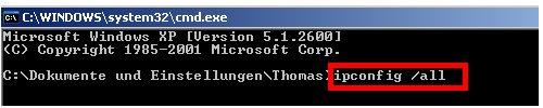 Netzwerkanleitung IP-Adresse anzeigen - ipconfig per Kommandozeile erläutert - Cmd - ipconfig /all