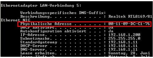 Netzwerk-Tutorial: MAC-Adress der Netzwerkkarte herausfinden - Cmd - MAC-Adresse