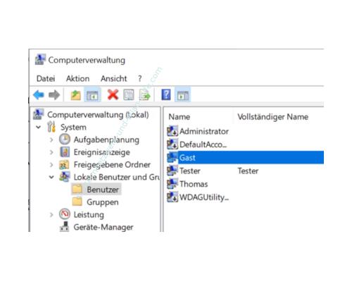 Windows 10 Tutorial - So aktivierst und speicherst du die Option: Kennwortgeschütztes Freigeben ausschalten! - Computerverwaltung: Anzeige des lokalen Benutzers Gast