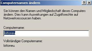 Windows XP Gerätemanager - Computernamen ändern -  Neuen Computernamen eingeben