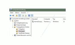 Windows 10 Benutzerverwaltung Tutorial – Computerverwaltung Bereich Sitzungen, der Benutzer anzeigt, die aktuell auf Freigaben zugreifen