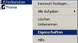 Windows Anleitung: Windows XP Benutzerkonto deaktivieren! Computerverwaltung - Kontextmenü des Benutzers, Menüpunkt Eigenschaften wählen