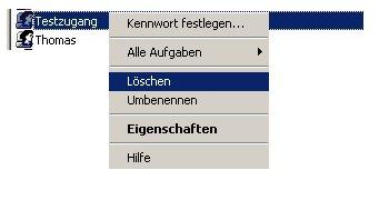Anleitung: Windows Benutzerkonto löschen unter Windows XP Vista - Computerverwaltung - KLick mit Rechts auf den Benutzer, den du löschen möchtest - Kontextmenü Auswahl Löschen