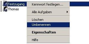 Anleitung: Windows Benutzername ändern unter Windows XP Vista - Computerverwaltung - Benutzer Kontextmenü Auswahl Umbenennen