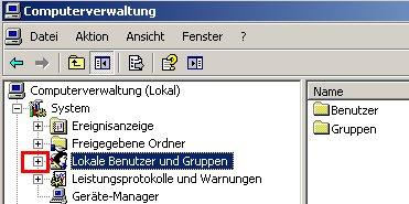 Anleitung: Windows Benutzerkonto löschen unter Windows XP Vista - Computerverwaltung - Klick auf Pluszeichen vor Lokale Benutzer und Gruppen um die Ebene zu öffnen