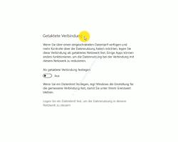 Windows 10 Tutorial - Den automatischen Download von Update-Dateien verhindern - Das Konfigurationsfenster für die Netzwerkeinstellung getaktete Verbindung