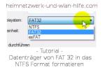 Datenträger von FAT 32 in das NTFS Format formatieren