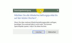 Windows 10 Tutorial - Systemwiederherstellungspunkte löschen – Datenträgerbereinigung Warnhinweis zum Löschen von Wiederherstellungspunkten