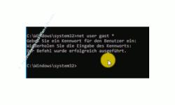 Windows 10 Tutorial - So aktivierst und speicherst du die Option: Kennwortgeschütztes Freigeben ausschalten! - Dem Benutzer gast über den Befehl net user gast * ein leeres Passwort vergeben