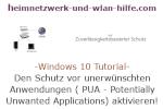 Windows 10 Tutorial - Den Schutz vor unerwünschten Anwendungen ( PUA - Potentially Unwanted Applications) aktivieren!