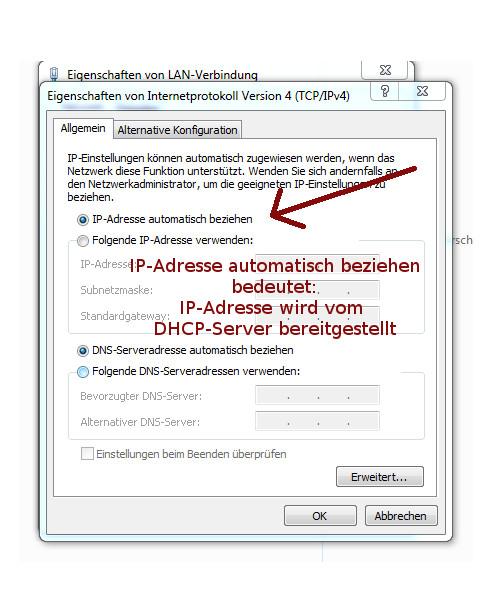 Heimnetzwerk Anleitungen: Datenübertragung in einem Ethernet Netzwerk - DHCP-Server: IP-Adresse automatisch beziehen