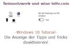 Windows 10 Tutorial - Die Anzeige der Tipps und Tricks deaktivieren!