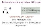 Windows 10  Tutorial - Die Anzeige von Benachrichtigungen im Infocenter anpassen!