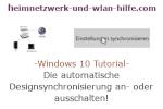 Windows 10 Tutorial - Die automatische Synchronisierung von Designelementen an- oder ausschalten!
