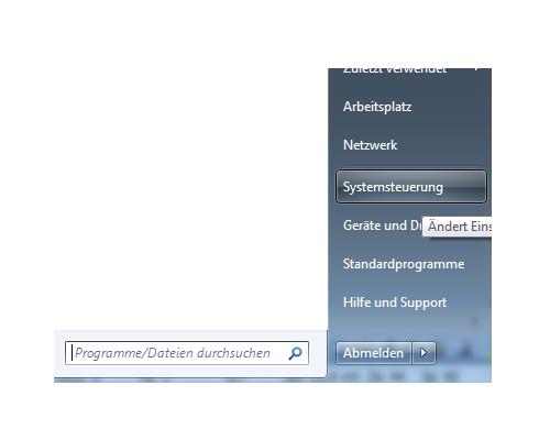 Die Systemsteuerung unter Windows 7 öffnen