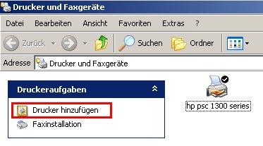 Tutorial: Einen Netzwerkdrucker im Heimnetzwerk einrichten - Link unter der Rubrik Druckeraufgaben Drucker hinzufügen