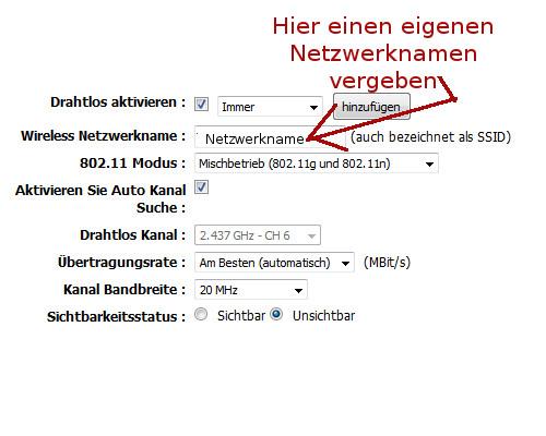 Wlan-Netzwerk Anleitungen: Aufbau eines Wlan-Netzwerkes - Wlan SSID Netzwerknamen vergeben