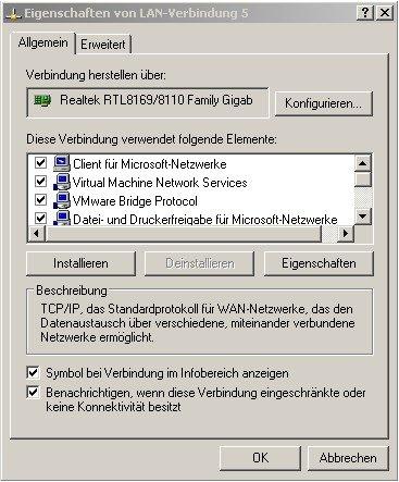 Verbindung zwischen zwei PC durch Crossover Kabel - Eigenschaftsfenster einer Netzwerkverbindung