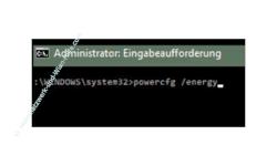 Windows 10 Tutorial - Die Energieeinstellungen mit dem Tool powercfg prüfen und Stromfresser herausfinden, um Energie zu sparen! – Eingabe des Befehls powercfg /energy