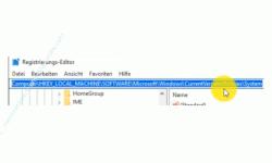 Windows 10 Tutorial - Lösung zum Fehler: Der Zugriff auf administrative Freigaben wird verweigert! - Eingabe des Pfades eines Registryschlüssels im Registrierungs-Editor