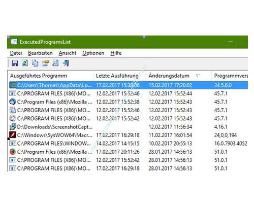 Tutorial zu Executed Programs List – Das Programmfenster mit sortierten Spalten
